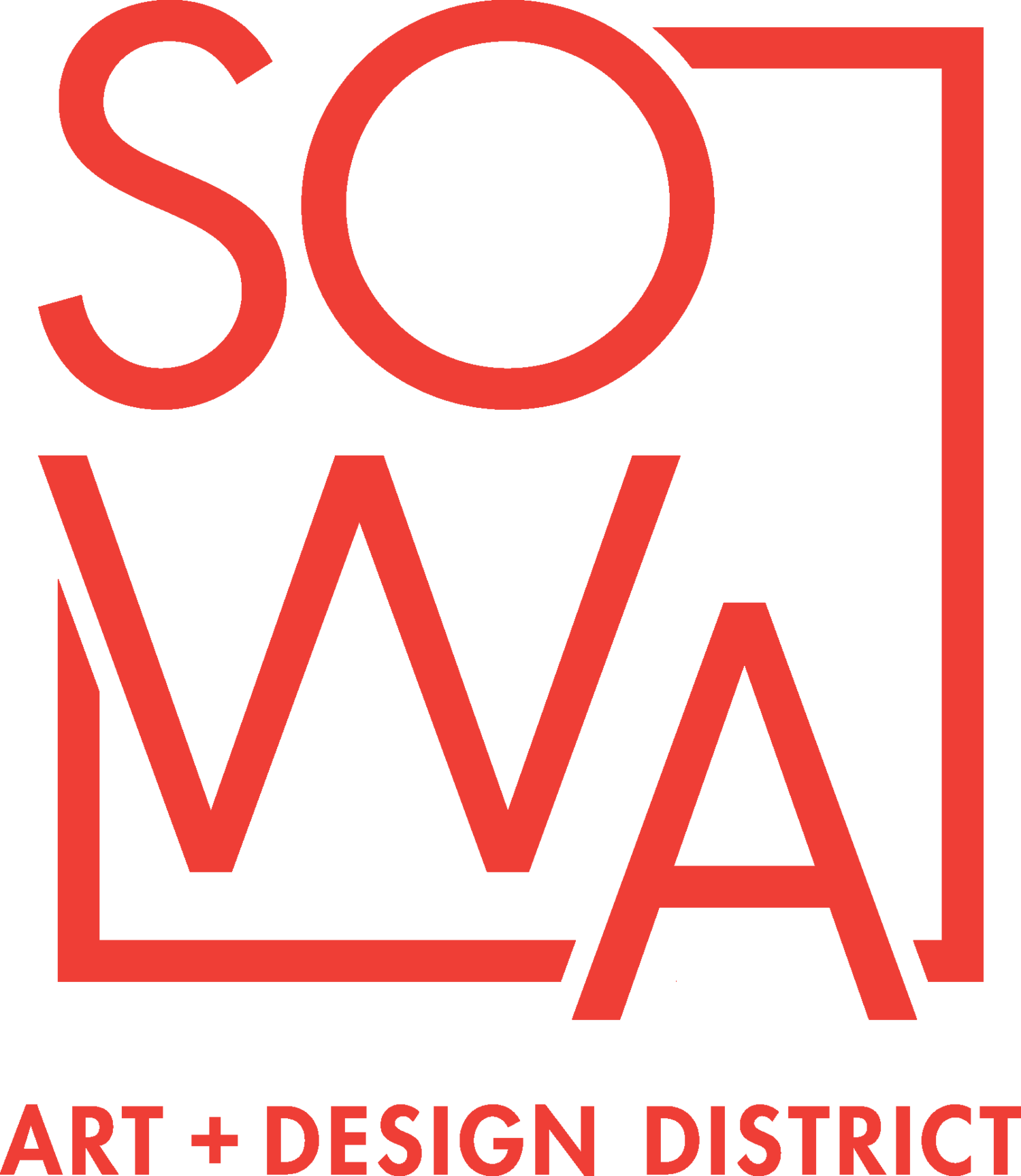 SOWA Arts district design logo; red, white