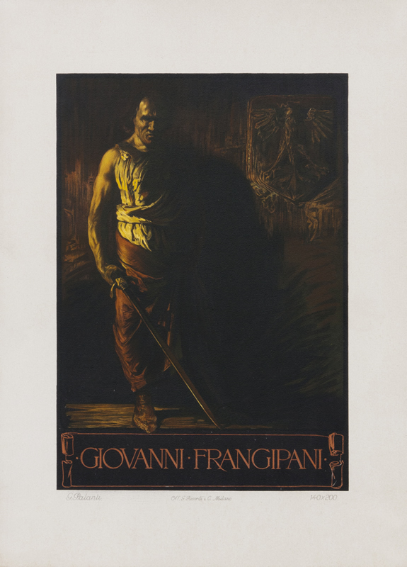Fierce man in shadows holds sword; brown, yellow
