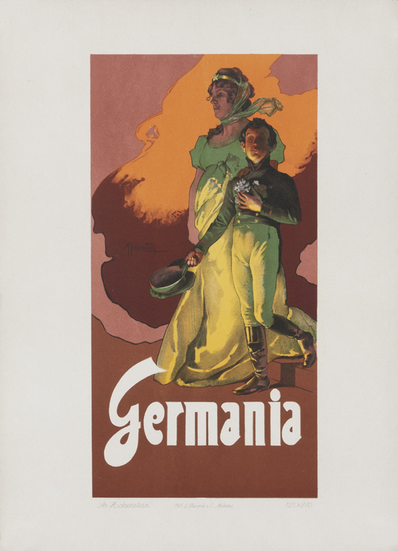 Mother Germania protects a military officer; orange, brown