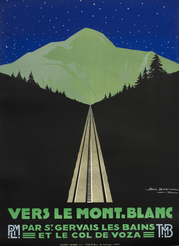 View of mountain and railroad below stars; blue, green, black
