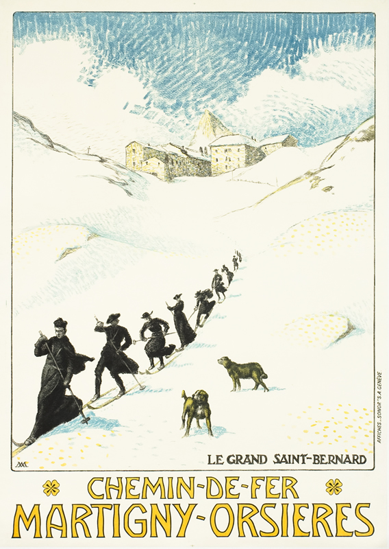 Benedictine monks ski down slope with dogs watching; white, black, blue