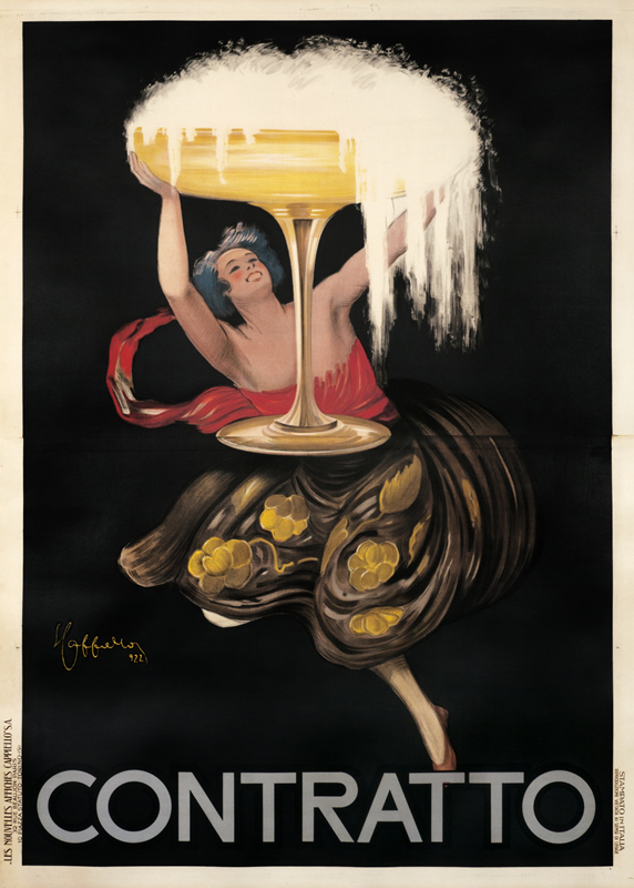 Woman holds up Champagne glass; red & gold on brown