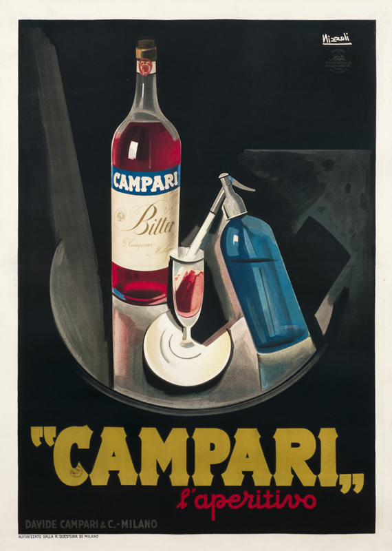 Still life with Campari bottle and seltzer bottle; black, red, blue, yellow