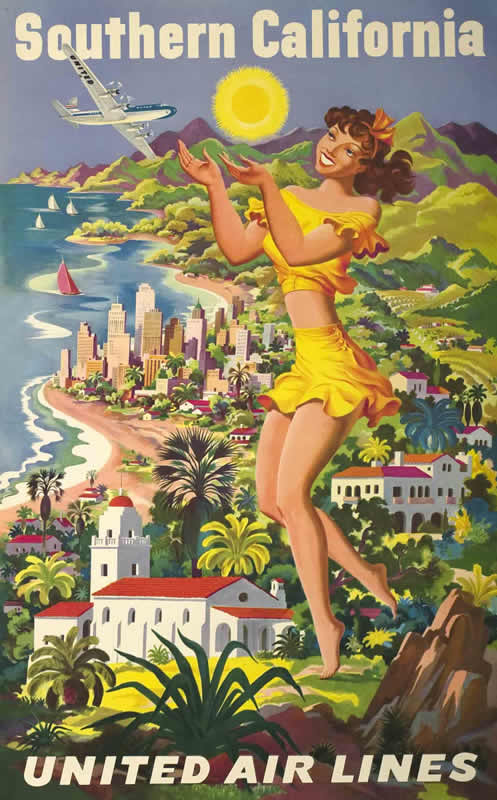 Woman in bikini holds up sun, walks towards ocean; brown, peach, yellow, green, blue