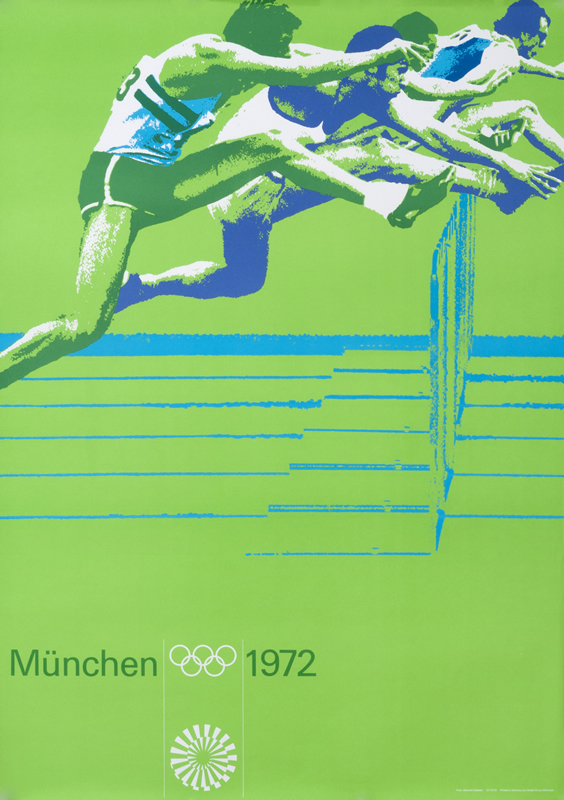 Racing male athletes leap over hurdles; green, blue