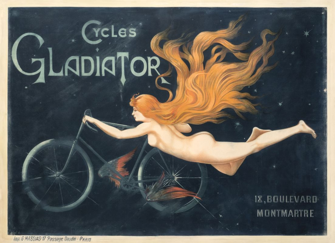 Naked woman with flowing red hair flies on her bike through the sky; blue, orange