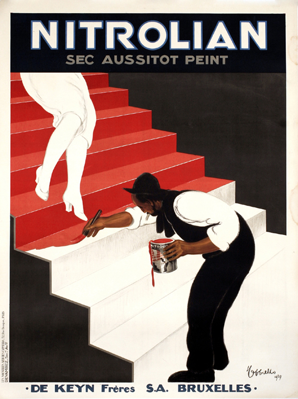 Main paints stairs as woman descends; red, black, white