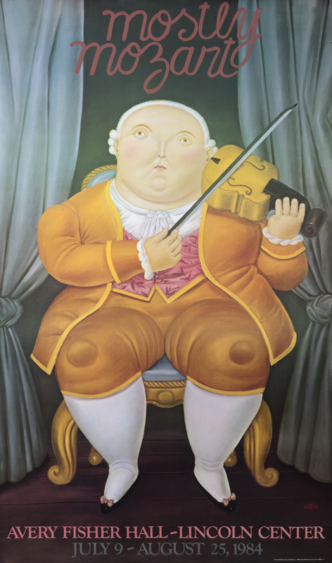 Mozart plays violin; yellow, orange, brown