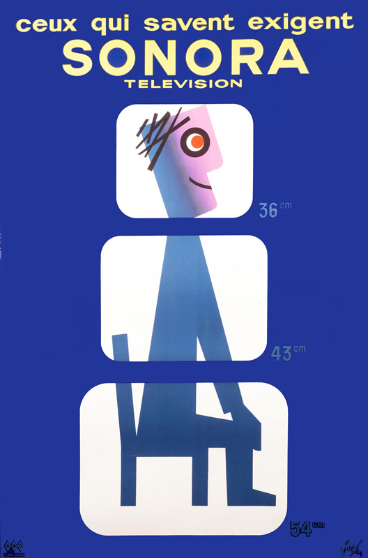 Cartoon man sits, enveloped by three abstract televisions; blue, white, pink, yellow