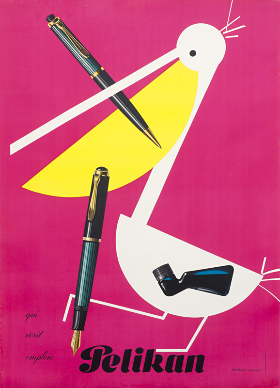 Pelican with pen in its beak and talon; pink, yellow, black