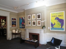 Poster exhibition at International Poster Gallery; yellow, beige, white, black