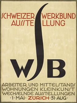 Typographic poster with beautiful Vienna Secession style S; brown, black, red