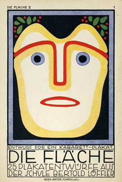 Mask-like face stares out at viewer with text below; blue, yellow, red, black