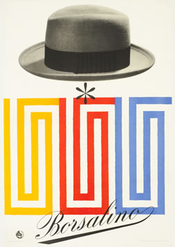 Geometric repeating designs with man's hat above; white, gray, yellow, blue, red