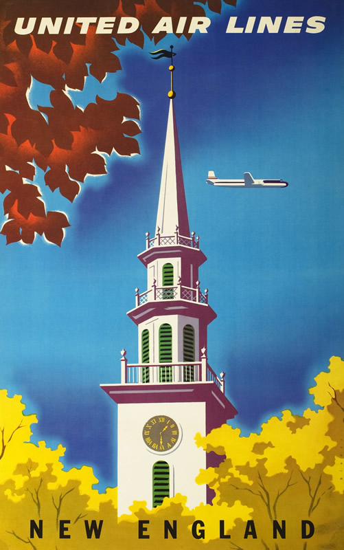 Church steeple against autumn foliage, sky, with airplane above; blue, brown, yellow, white