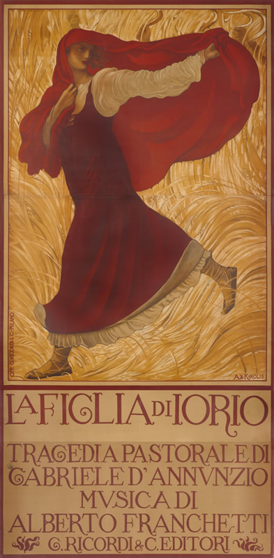Woman under shawl hastens through wheat field; red, yellow, gold