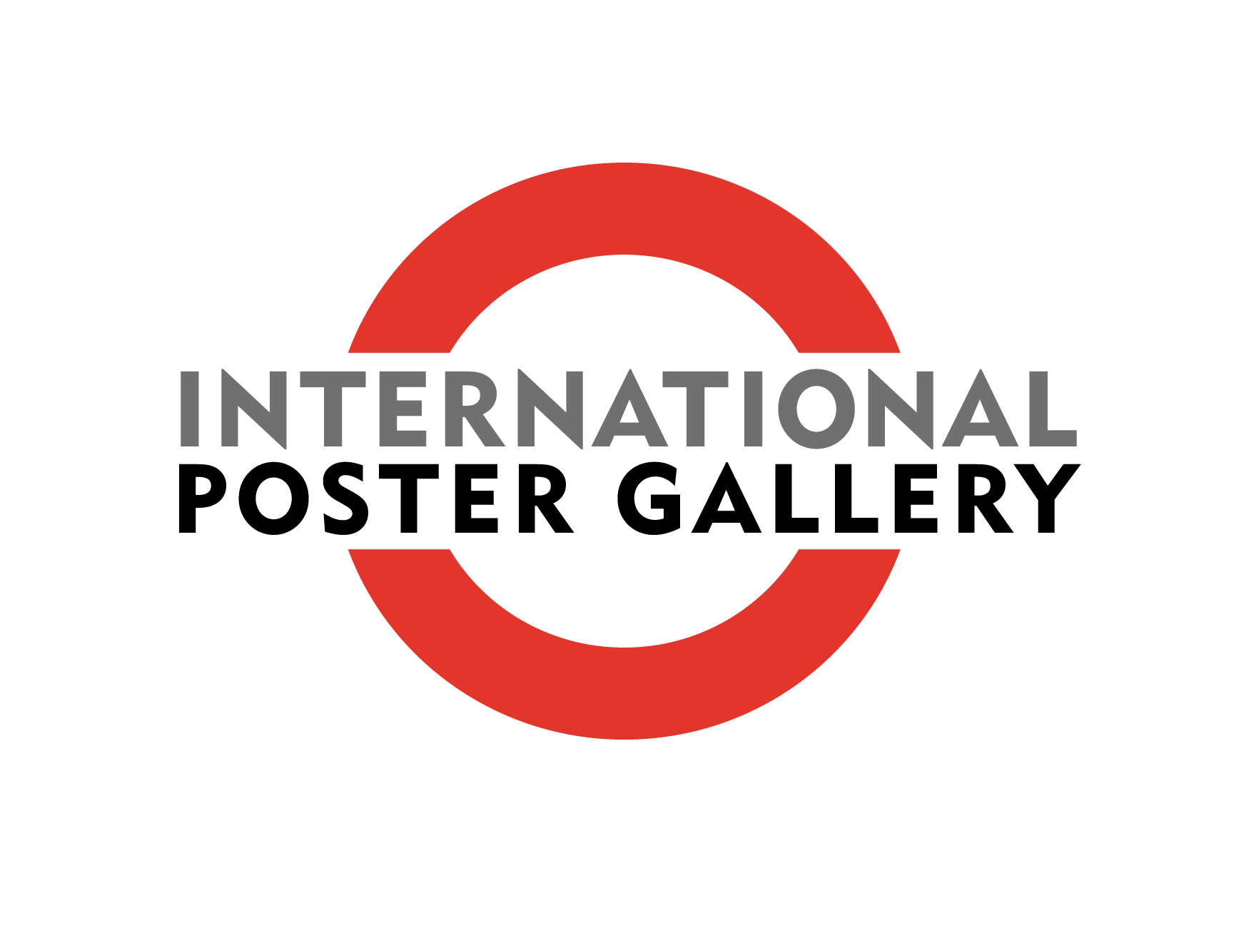 International Poster Gallery Logo; black, white, red