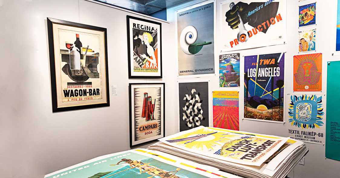 Photo of gallery showing posters