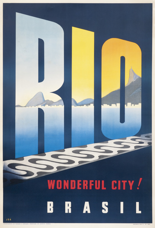 View of Rio and Corcovado Mountain from tiled boardwalk; blue, yellow, red