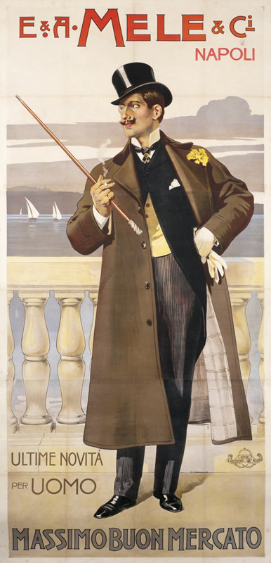 man with top hat & cane; brown, black, gray on white