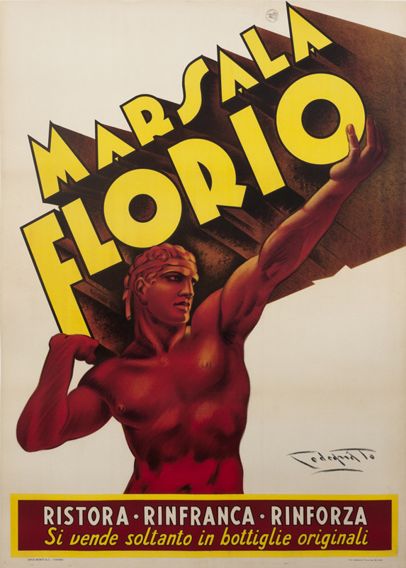 Strong naked man lifts letters that spell Marsala Florio; red, yellow