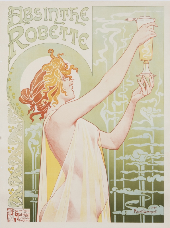 Young woman in diaphanous robe admires glass of absinthe; green, yellow, gold