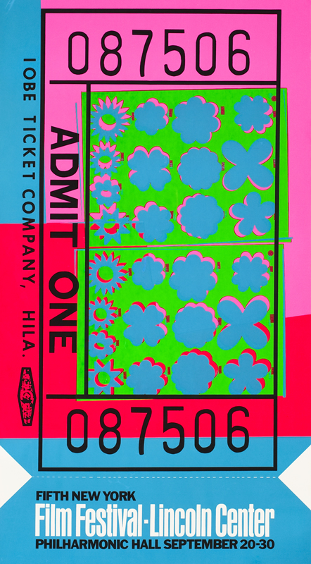 Theater ticket decorated with flowers, stars, clouds; fluorescent blue, green, pink, red