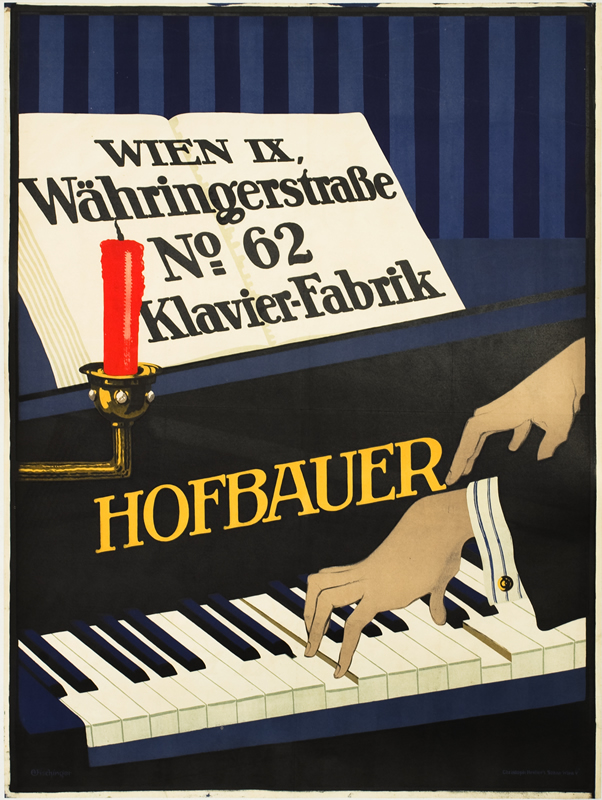 Man's hands playing Hofbauer brand piano; black, blue, red, gray
