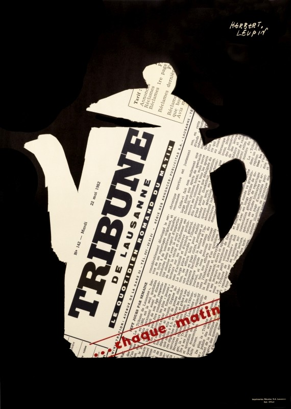 Tea kettle shape made of newspaper's front page; black, white, red