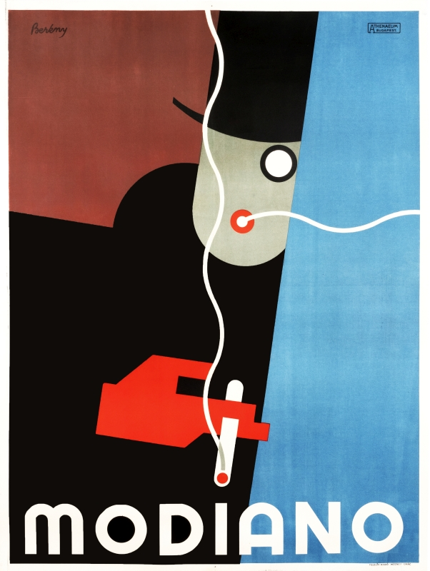Stylized man in top hat and red glove smokes a cigarette; red, blue, brown, black