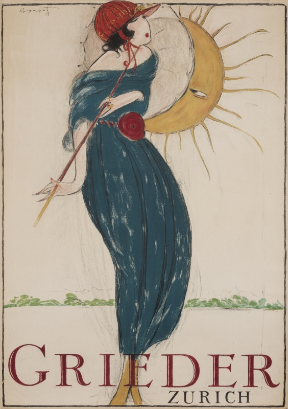 Woman with parasol is admired by the sun; blue, red, yellow, white