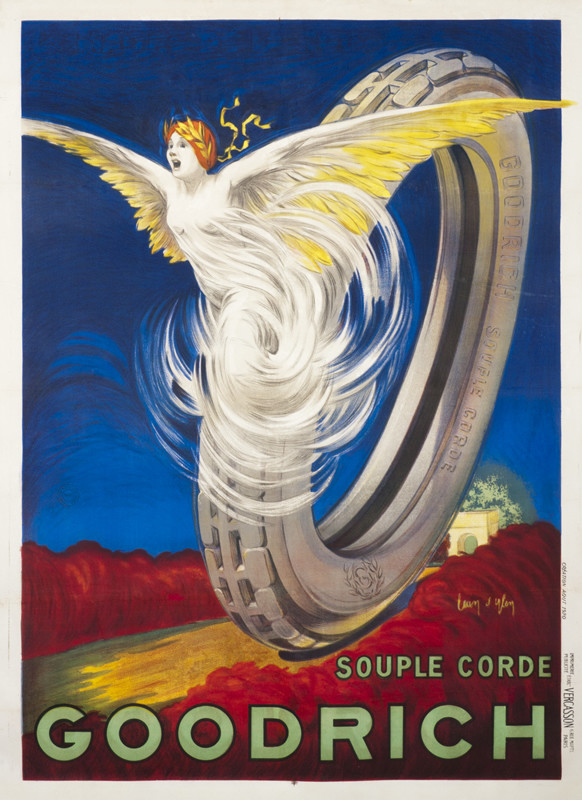 Winged female figure emerging from a tire going down road from arch; red, blue, yellow, gray, green
