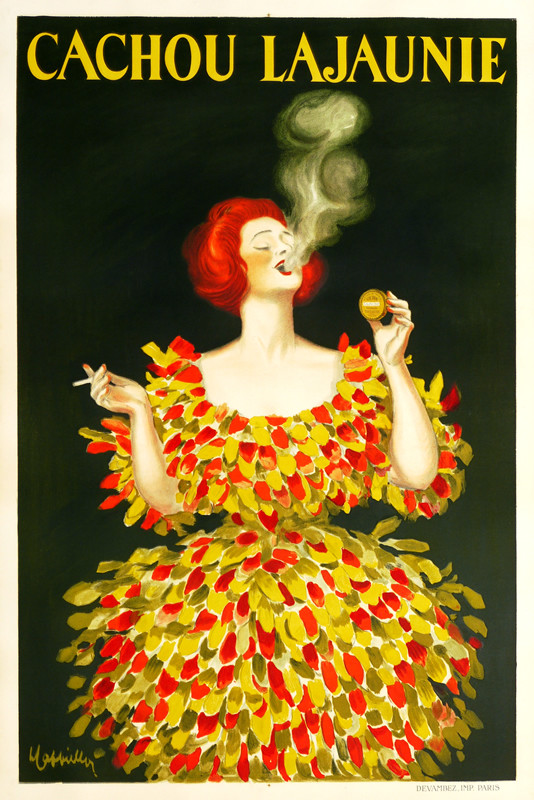 Woman in wild feathery dress smokes cigarette, uses breath freshener; green, yellow, red