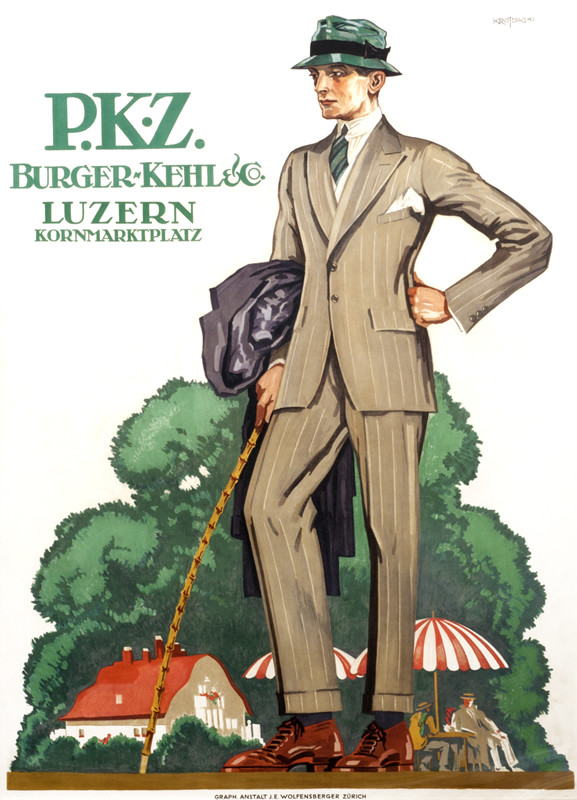 Germanic-looking man in fine pinstriped suit, hat, tie, carrying cane, trees, building behind; green, gray, red