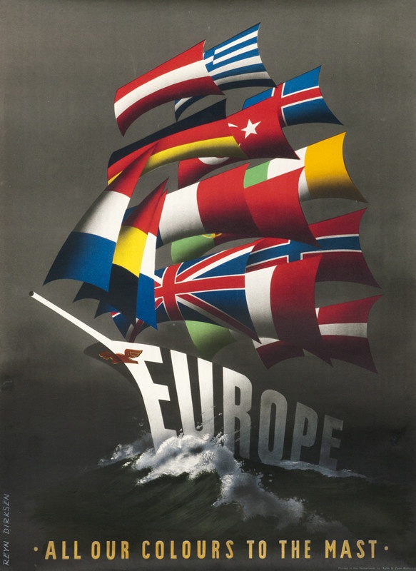 Europe ship made of flags in sea; black, yellow, red, blue